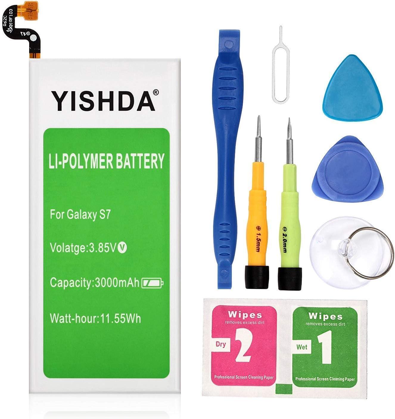 Galaxy S7 Battery, YISHDA 3000mAh Replacement Samsung Galaxy S7 Battery SM-G930 EB-BG930ABE Compatible with G930V G930A G930T G930P G930F with Tools | Samsung Galaxy S7 Battery Kit [18 Month Warranty]