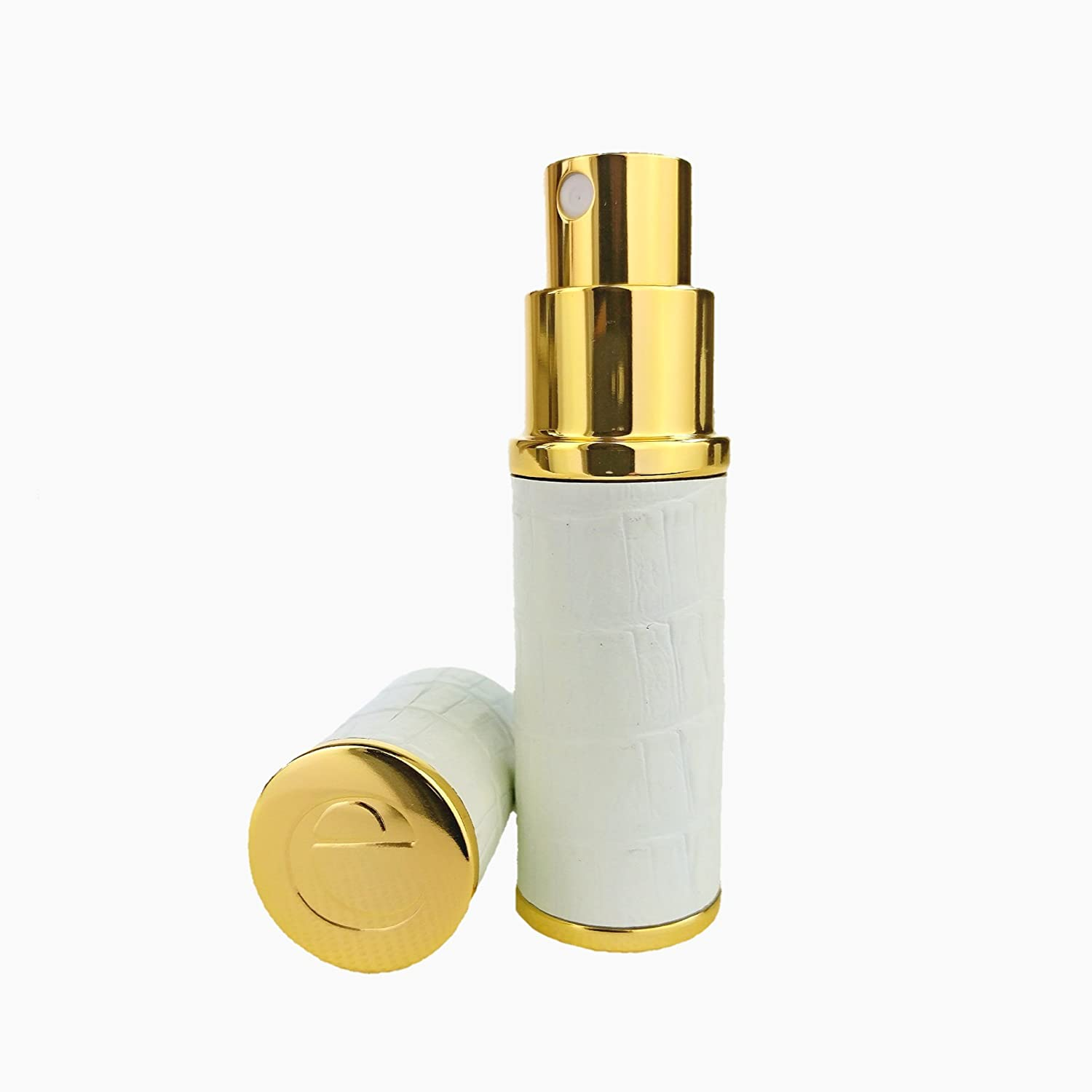 The Essential Atomizer Co. White & Gold Faux Croc 10ml Refillable Spray Perfume Travel Atomizer. Comes with a Funnel & Gift Box