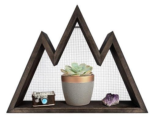 Mkono Wall Shelf Wood Floating Mountain Shelf Crystal Display Shelf Rustic Triangle Wall Art Geometric Decor for Nursery, Bedroom -Perfect Housewarming Gifts