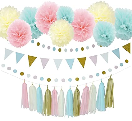 31pcs Baby Blue Pink Cream Gold Tissue Paper Pompom Gender Reveal