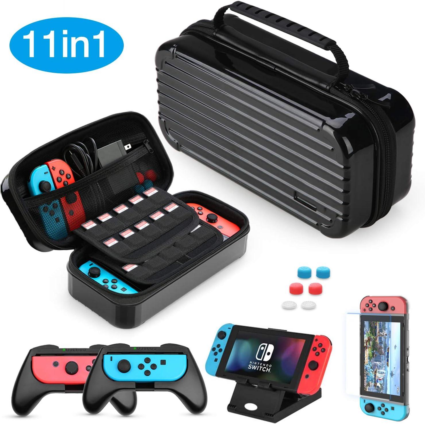 Funda para Nintendo Switch, HEYSTOP 11 en 1 Nintendo Switch Estuche portátil Incluye 2 Joy-Con Grips para Nintendo Switch, PlayStand ajustable, Protector de Pantalla con 6 Tapas de Agarre para Pulgar