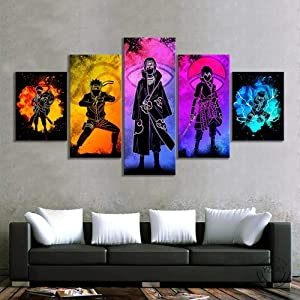 Canvas Wall Art Picture Prints on Canvas Poster Soul of Naruto Characters Anime 5 Piece Canvas Wall Art Poster Print Home Decor with Frame-can be Hung Xmas gifts-150x80 cm