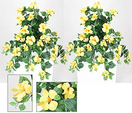 Amazoncom Two 29 Hanging Hibiscus Artificial Flower Silk Plant