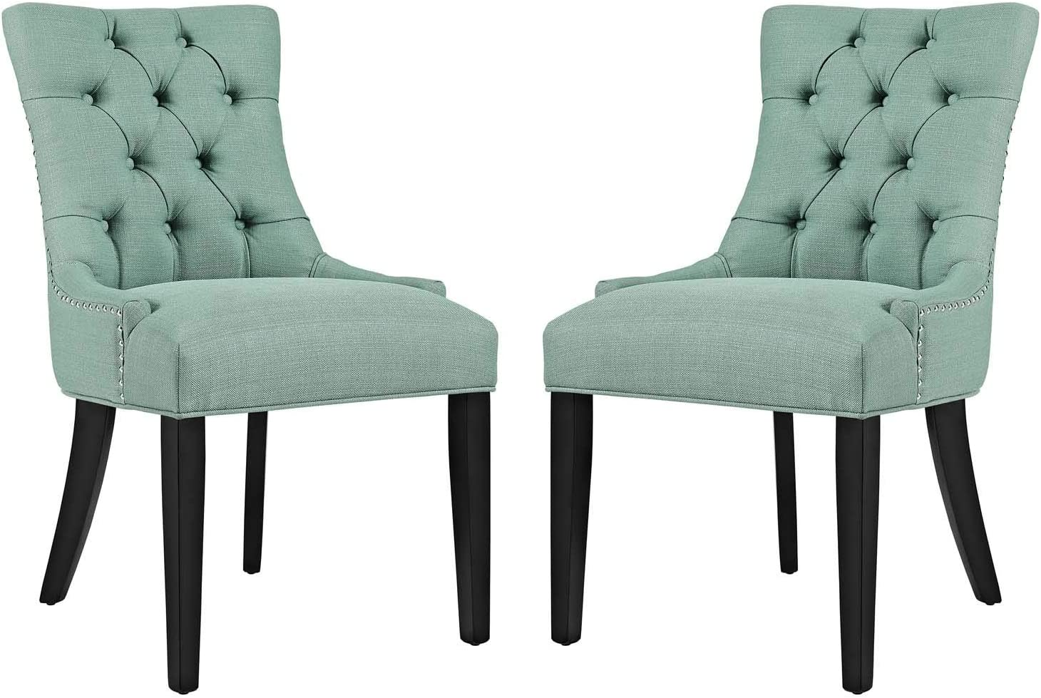 Modway Regent Modern Tufted Upholstered Fabric Two Kitchen and Dining Room Chairs with Nailhead Trim in Laguna