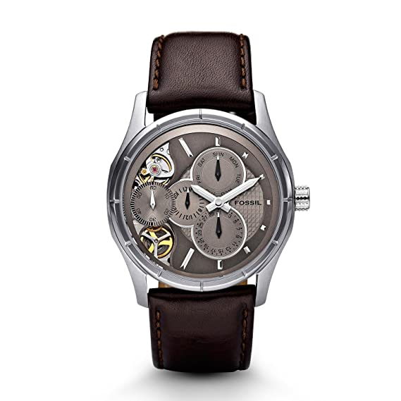 Amazon.com: Fossil Mens ME1020 Brown Leather Strap Textured Champagne Cutaway Analog Dial Multifunction Chronograph Watch: Fossil: Watches