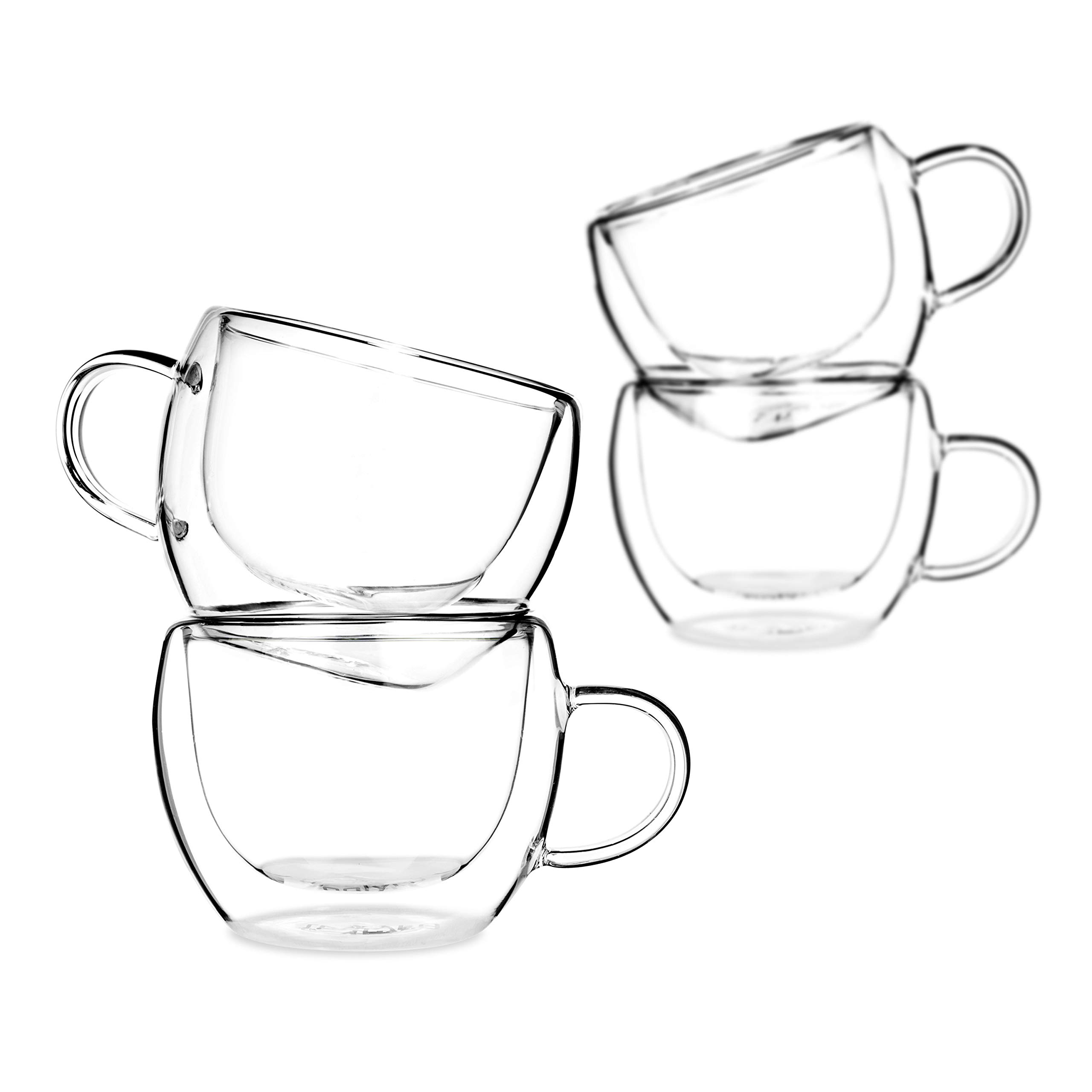 Tealyra - Universe 8-Ounce - Set of 4 - Double Wall Glasses with Handle - Espresso Coffee - Tea - Cappuccino - Clear Cups - Heatproof Insulating - Keeps Beverages Hot - 230ml by Tealyra (Image #1)