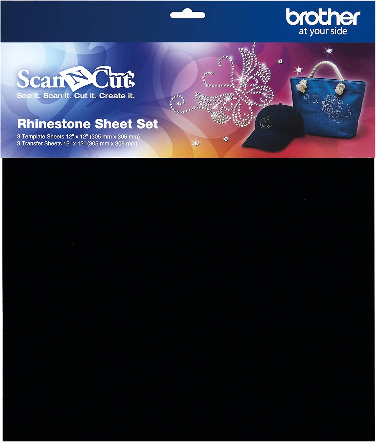 Brother ScanNCut Rhinestone Template and Transfer Sheet Set CARSSH1, 6-Piece Accessories, 3 Each 12