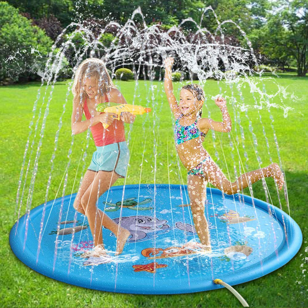 "Splash Play Mat 68"" Sprinkle Water Toys for Infants Children Toddlers Boys Girls Kids Outdoor Patio Summer Fun Sprinkler Pad"