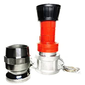 SAFBY Fire Hose Nozzle 2 Inch NPSH//NPT Brass Fire Equipment Spray Jet Fog with 2 Inch Aluminum Female and Male Fitting Brass 2 NPSH