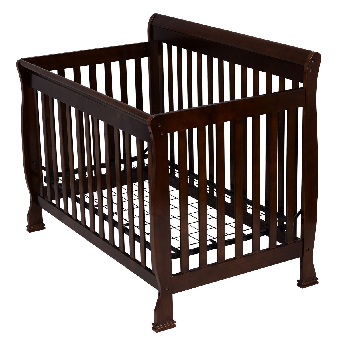 Coffee Pine Wood Baby Toddler Bed Convertible Crib Nursery Furniture Children by Happybeamy (Image #2)
