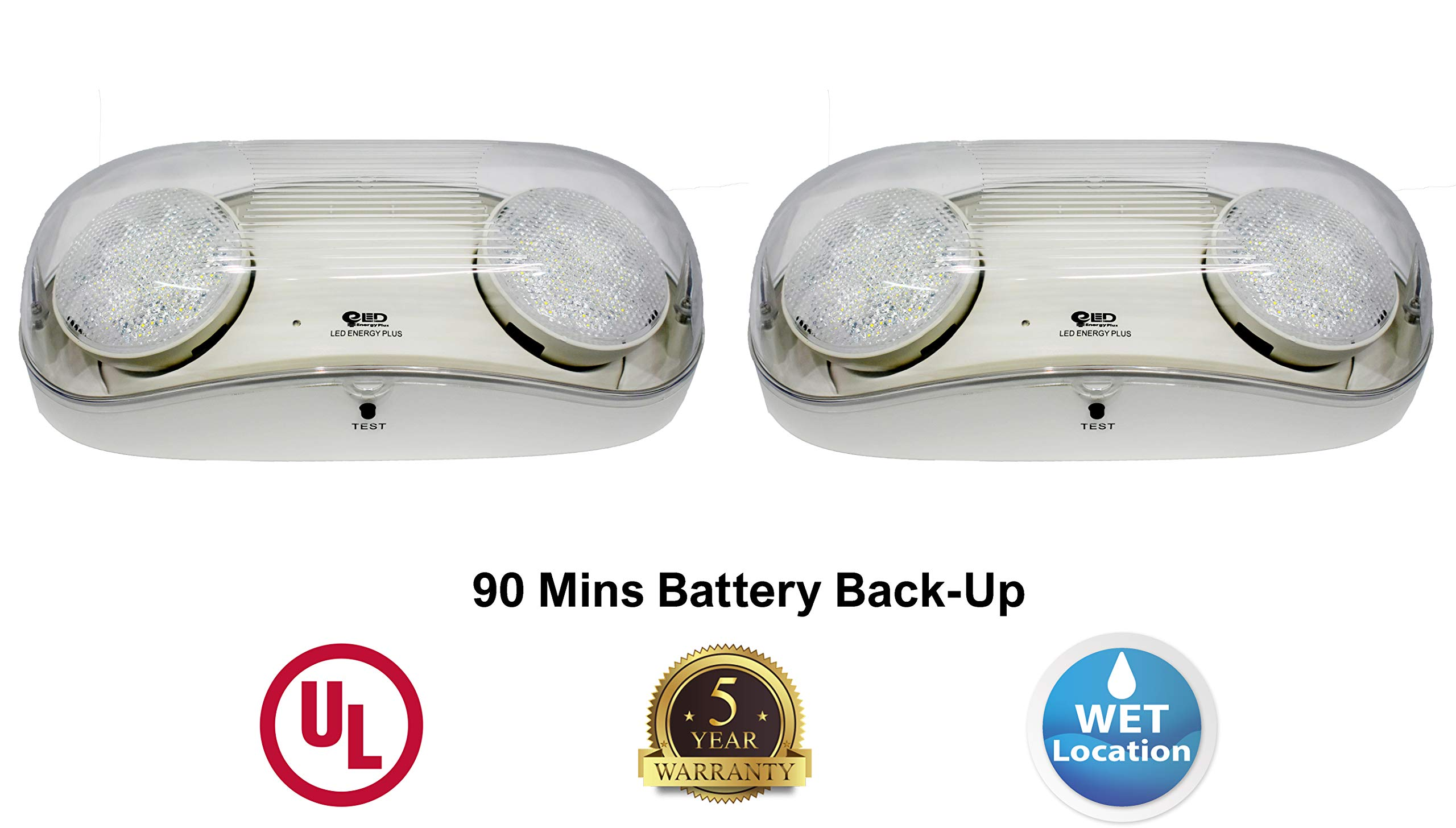 Outdoor Rated Ultra-Bright White LED Emergency Light(Bug Eyes) with Battery Backup, Wet Location Listed, 90-Minute Minimum Capacity, UL Certified, 5 Years Warranty (2 Pack) by LED ENERGY PLUS