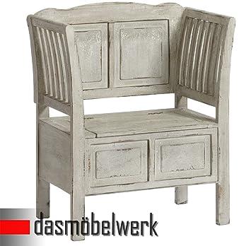 dasmöbelwerk Garderobenbank Deko Bank Holzbank Truhe Weiss Shabby ...