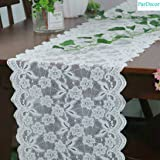 Pardecor Lace-Table-Runner 12x120-Inch White Lace Table Runner Reuseable Wedding Outdoor Home Dining Table Cloth Runners Floral Lace Table Runner White