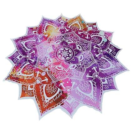 Mandala redondo de flor de loto poliéster mantel toalla de playa, diseño de playa manta