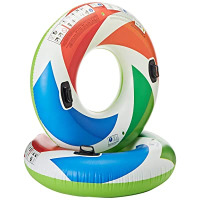Intex Inflatable Color Whirl Floating Tube Raft w/ Handles (Set of 2) 48in 58202EP: Toys & Games [5Bkhe0506611]