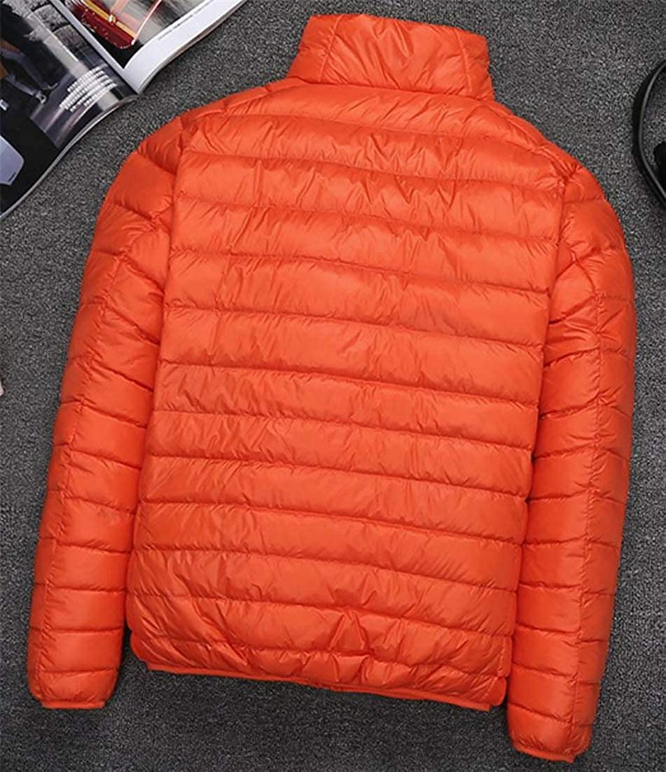 Lutratocro Mens Thin Outdoors Stand Collar Classic-fit Puffer Autumn Winter Packable Down Jacket