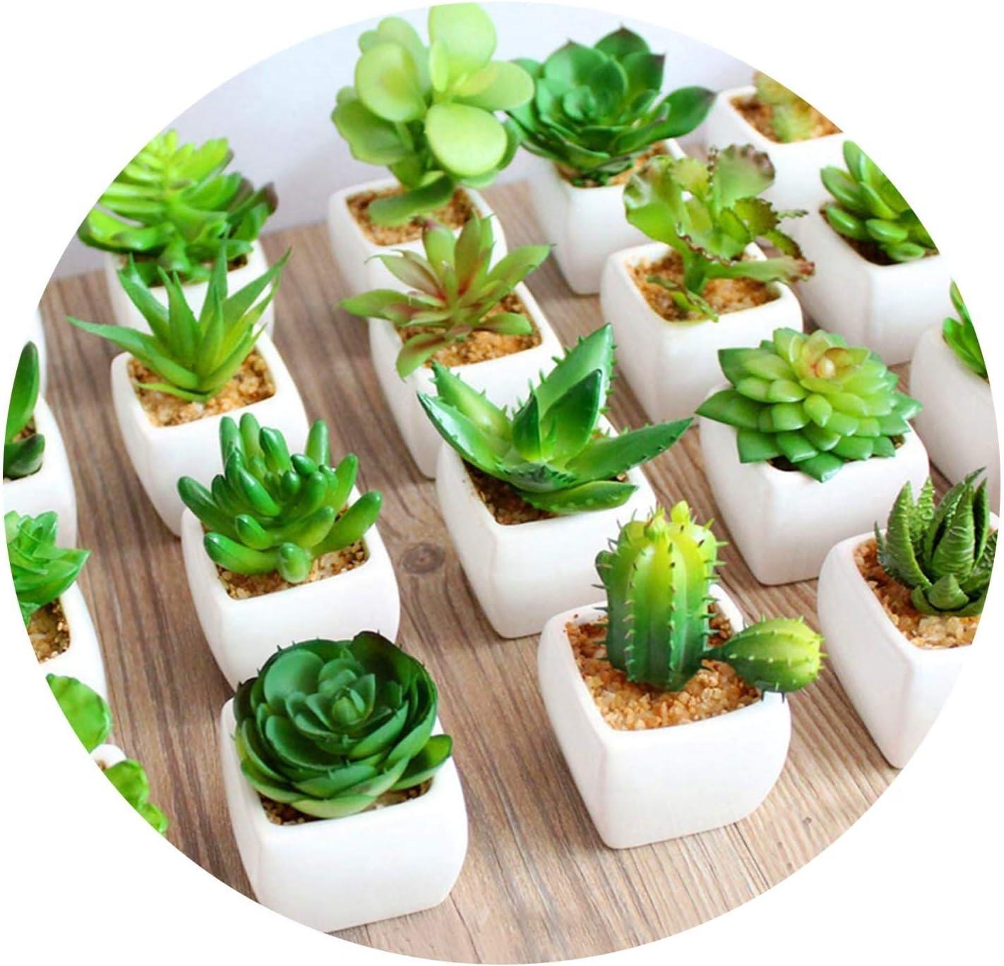 10pcs Mini Plastic Succulent Plant Fake Small Bonsai Flower Pot Home Garden Deco