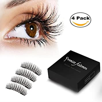 61a71d597ff Amazon.com : Magnetic Eyelashes 3D NO Glue 2 Reusable Premium Magnet  Quality False Eyelashes Set for Natural Look Fake Lashes Extensions 1  Pair/4Pcs by ...