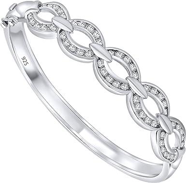Gold Zirconia Round Bracelet Bangle 925 Sterling Silver