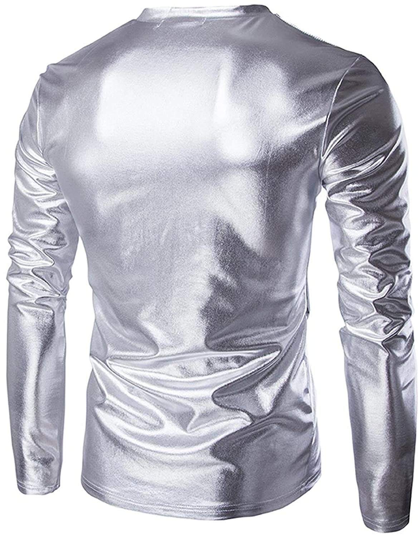 jeansian Men's Casual Shiny Slim V Neck Long Sleeve T-Shirts Tee Shirt Tops  Clubwear D719: Amazon.co.uk: Clothing