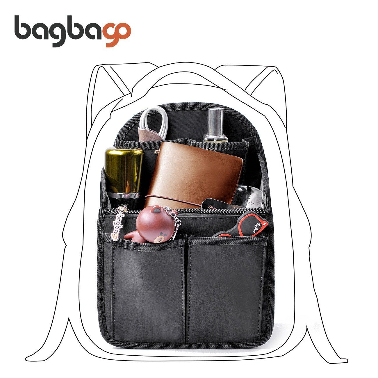Backpack Organizer bag in bag Shoulders Bag Rucksack Insert fit Mini Backpack,Black (Mini)