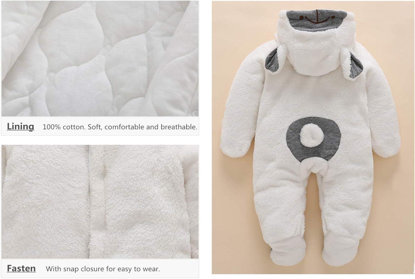 Baby Snowsuit Fleece Romper Winter Jumpsuit Hooded Footies Newborn Thicken Sleepsuit 0-3 Months