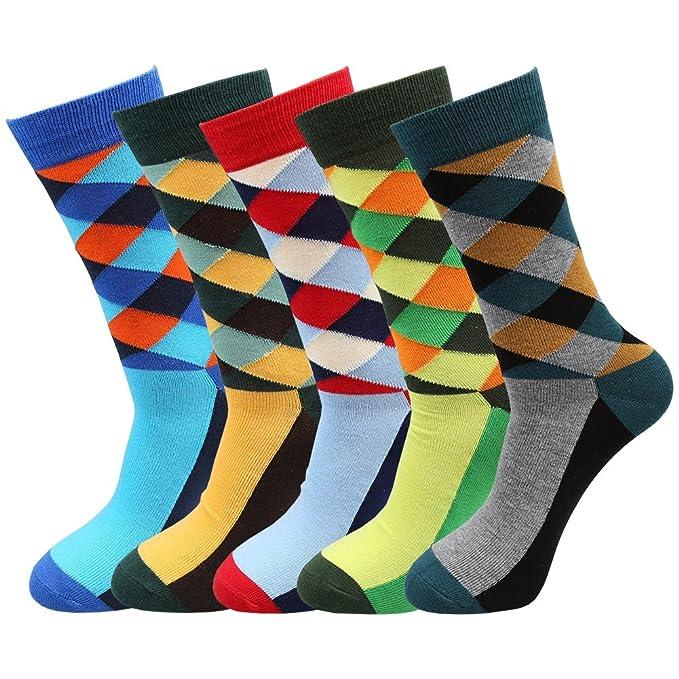 Bequemer Laden 5 Pares Calcetines Hombre, de algodón peinado calcetines, para hombre multicolor Talla