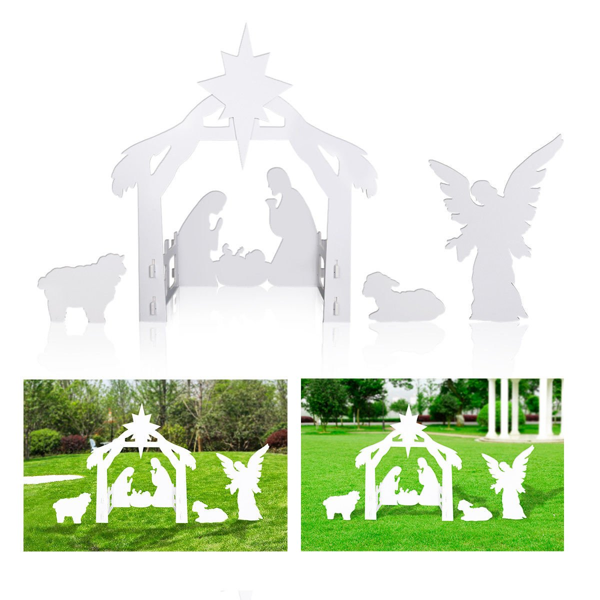 Giant Outdoor Nativity Scene - Large Christmas Yard Decoration Set USA Seller