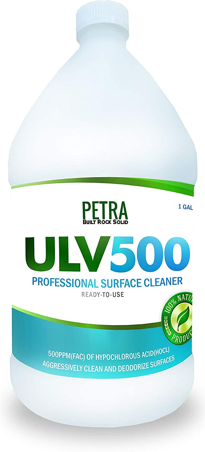 Hypochlorous Acid 500PPM (1 Gallon) For Dental And Medical Professionals, All Natural HOCL Surface Cleaner For ULV Foggers, Petra