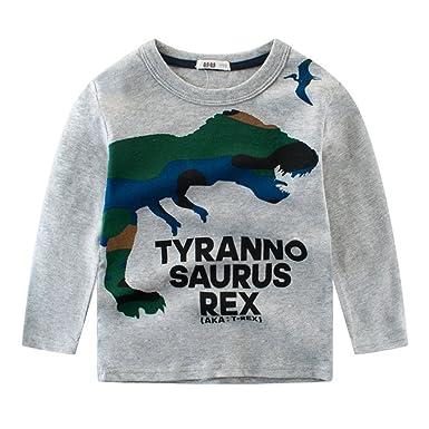 7bff36ca50e65 Tkria Garçon enfant T-Shirt Manches Longues Tops Col Rond Jurassique  Dinosaure Tyrannosaurus Rex Sweat