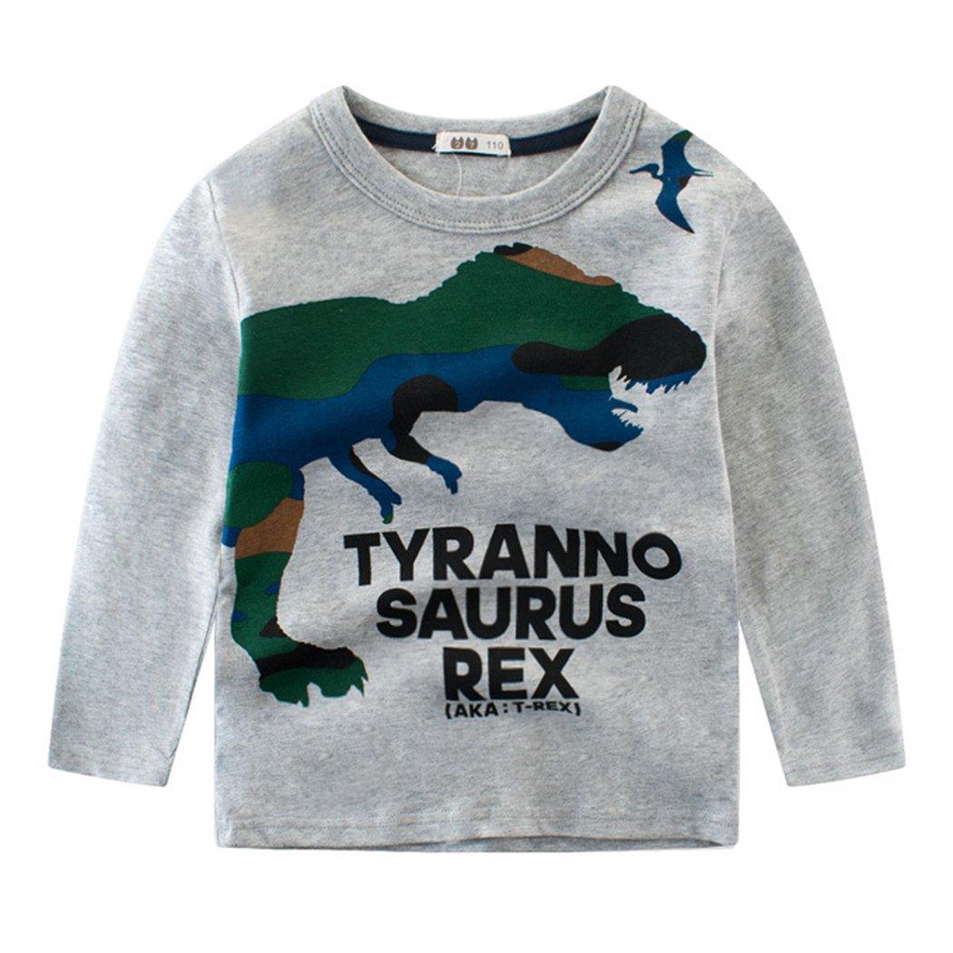 Tecrok Toddler Boys Long Sleeve Pullover Cotton Cute Animal Printed T Shirt for Boys (2-8 Years) (6-7 years, Gray-dinosaur)