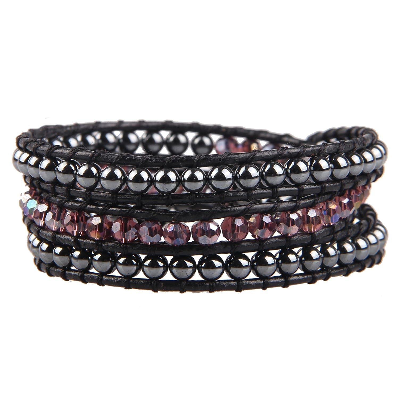 KELITCH Natural Blue Crystal Pearl Beads Mix Woven 3 Wrap Bracelet Handmade Fashion Women Jewelry AZ3W-15013K