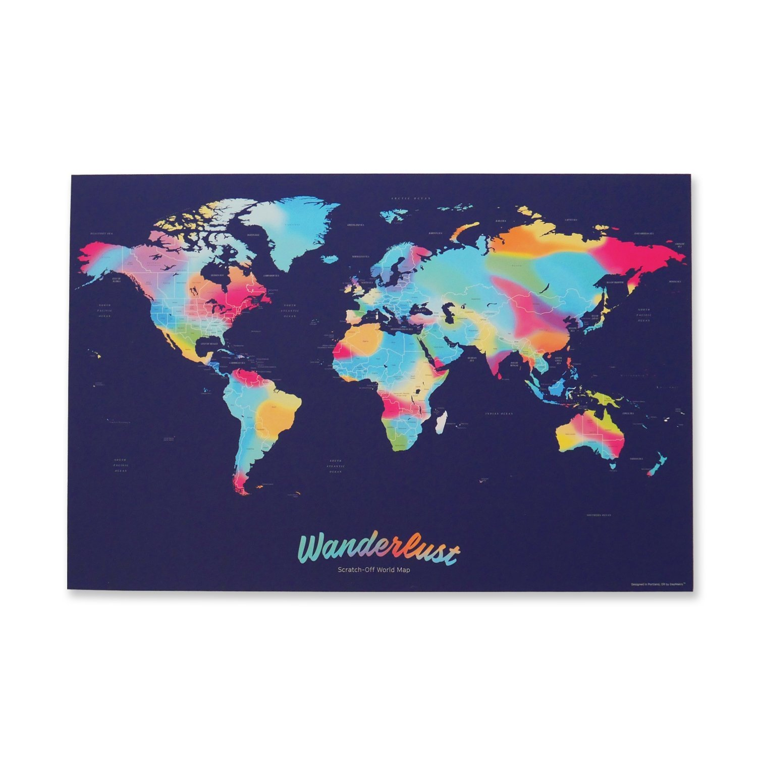 Scratch Off World Map :: Travel Art Poster with Over 214 Countries :: 16'' x 23.9'' (Fits 16'' x 24'' Frame), Gold Foil/Multicolor :: in Gift Tube with Scratch Pen & 5 Stickers by daymakrs