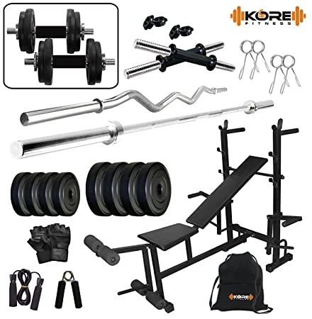 Kore 50 Kg (PVC/Rubber) Home Gym and Fitness Kit with 8 in 1 Multipurpose Bench with Home Gym Accessories Exercise Sets at amazon