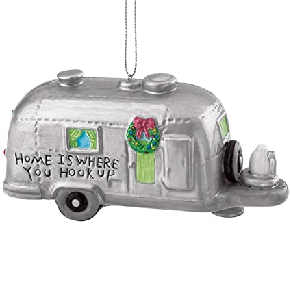 silver rv camper trailer camping christmas ornament