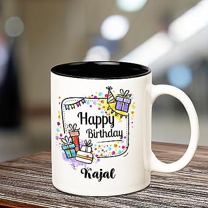 Buy Huppme Happy Birthday Kajal Inner Black Coffee Name Mug Online