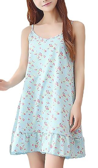Pijama Mujer Elegante Clásico Especial Tirantes V Cuello Impresión Vestidos Corto Pijamas Verano Casuales Moda Confort
