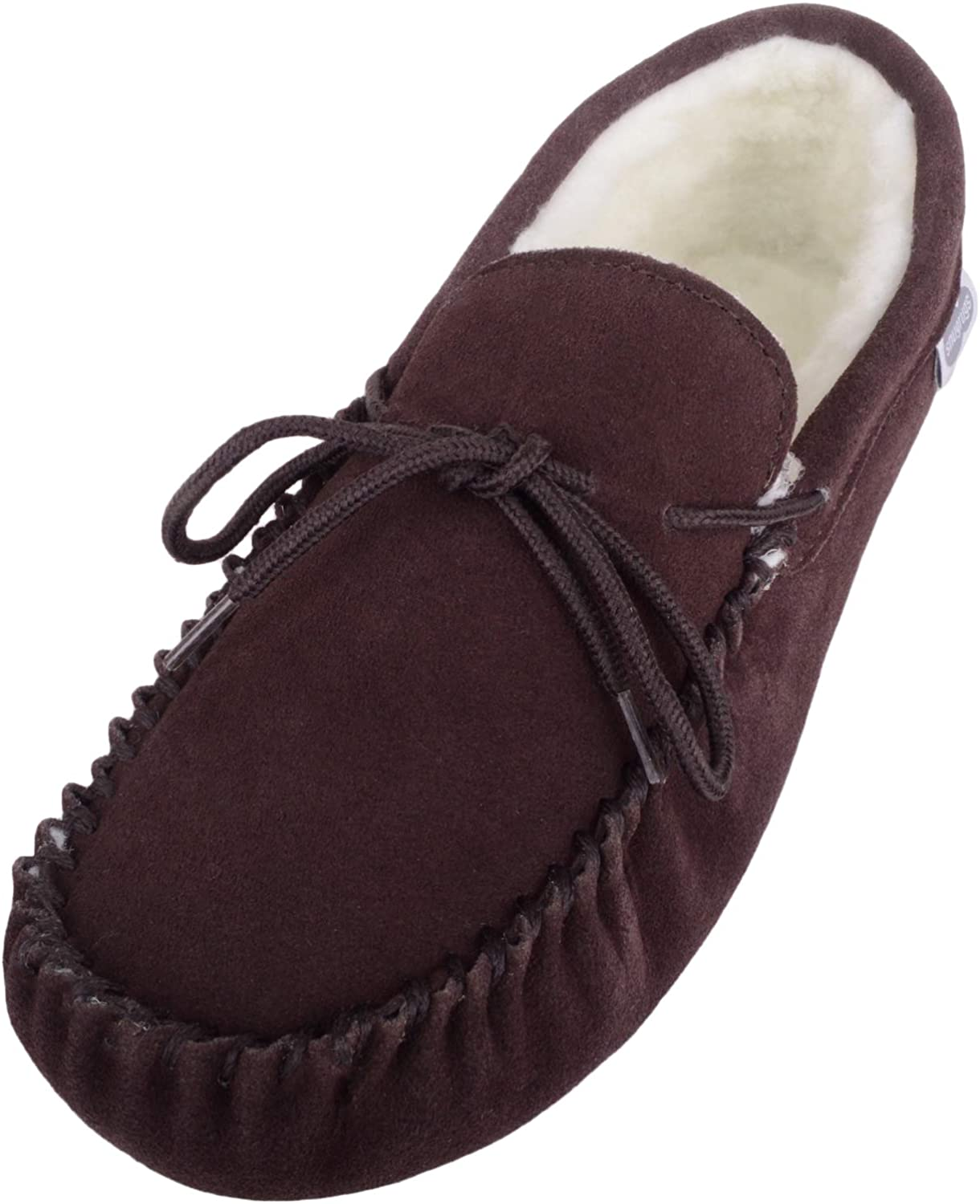 Brown Unisex Soft Sole Tan Lambswool Moccasins Mens /& Ladies Slippers