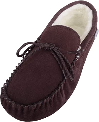 SNUGRUGS Men's Suede Sheepskin Moccasin Slippers with Soft Sole