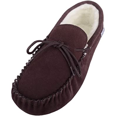 c85caf22c6e SNUGRUGS Men s Suede Sheepskin Moccasin Slippers with Soft Sole Brown ...