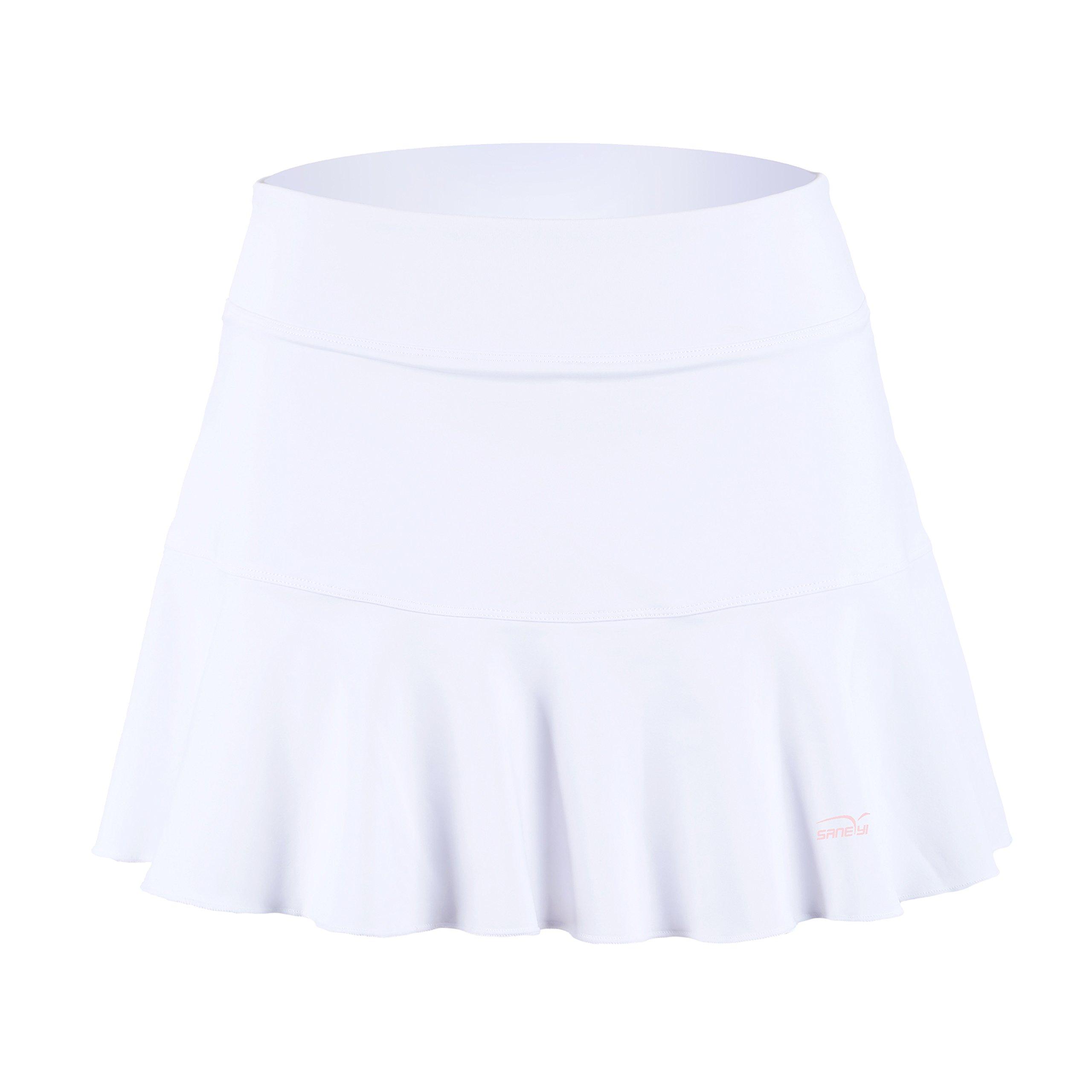 Women's Plus Basic Elastic Tennis Skirt with Shorts Golf Skort(sk25,XL,White) by 32e-SANERYI