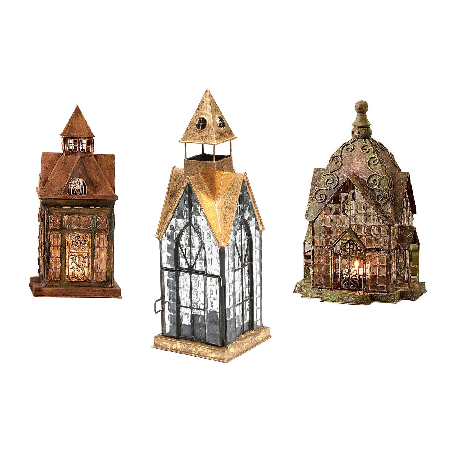 Set Of 3 Glass And Metal Candle Lanterns - Classic European Architectural Houses