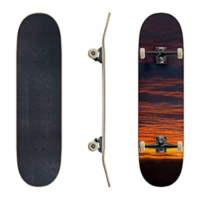 EFTOWEL Skateboards Dramatic red Sunset Vertical Banner Over Forest Mountain ridges Classic Concave Skateboard Cool Stuff Teen Gifts Longboard Extreme Sports for Beginners and Professionals : Sports & Outdoors