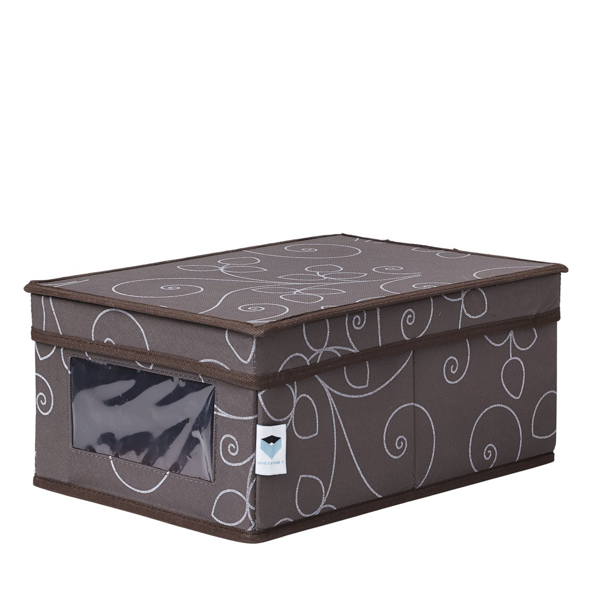 Store.It 754853 Shoe Storage Box with Window 34 x 23 x 15 cm Floral Pattern Grey