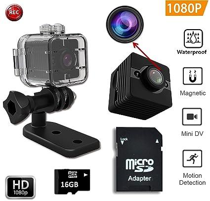 Impermeable FabQuaity mini cámara de visión nocturna SQ12 BONUS HD 16GB Tarjeta SD, cámara de