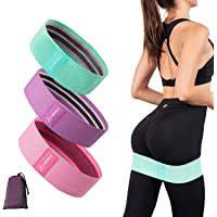 HERUI Resistance Bands3 Levels Exercise Band 3 Packs Non-Slip&Roll Elastic Fabric Workout Booty Bands for Squat Butt and…