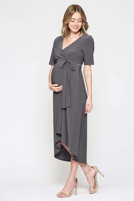 Large, Navy Flower HELLO MIZ Womens Maternity Wrap Dress with Front Tie Belt
