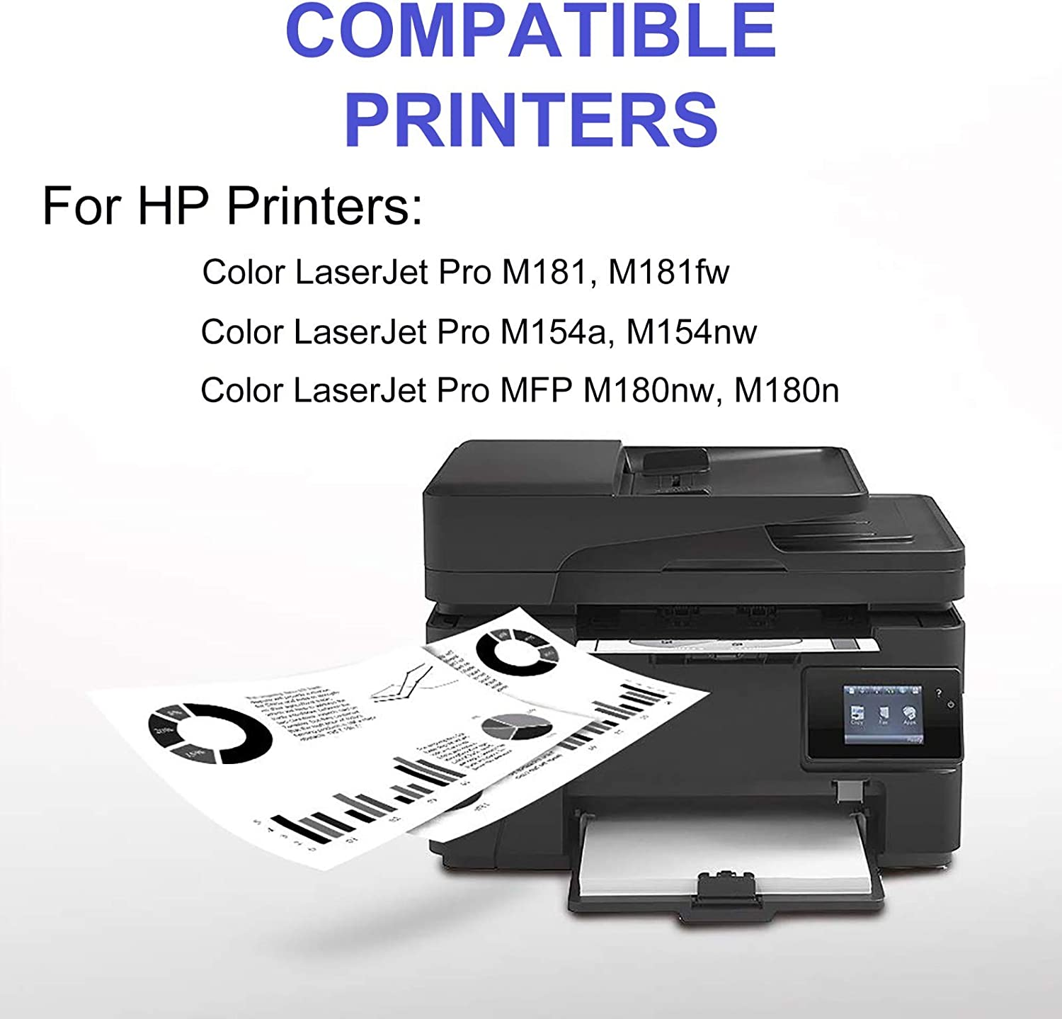 CF510A CF511A CF512A CF513A 2BK+C+Y+M Replacement for 5-Pack 204A Toner Cartridge Compatible Color Laserjet Pro M154nw M154a Printer Cartridge High Capacity Print True-to-Life Photos