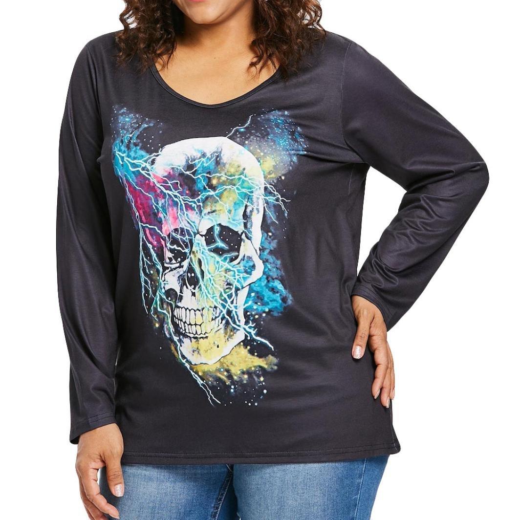 Gallity Clearance Sale! Women's Long Sleeve Skull Print Tops Sweatshirt Plus Size T-Shirt (5XL, Black)