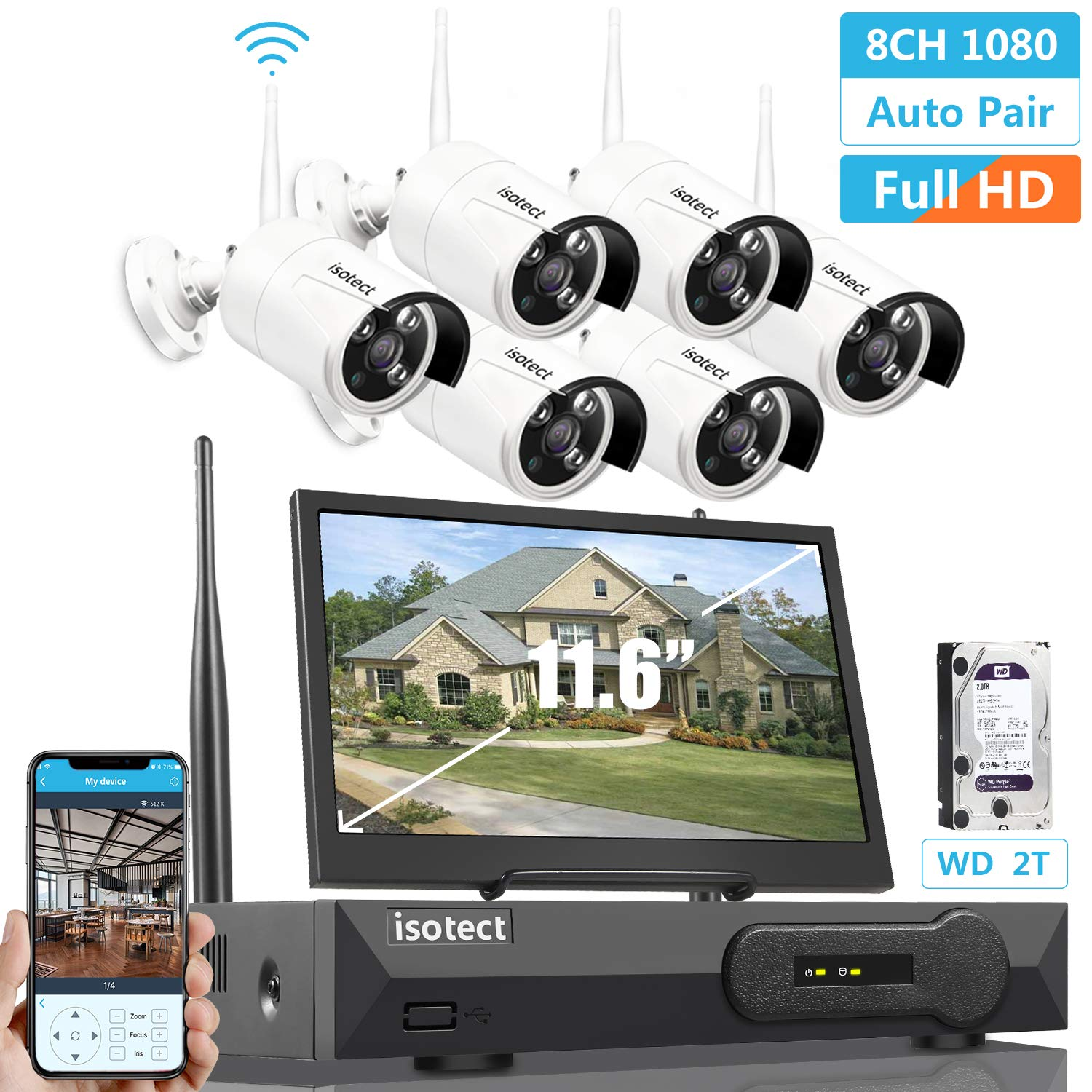 2019 Newest All in One with 11.6-inch Monitor Home Video Surveillance System, Wireless Security Camera System,Isotect 8CH Full HD 1080P Security Camera System 6pcs 1080P IP Cameras, 2TB HDD
